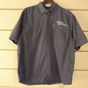 Harley Davidson/ Navy Embroidered Button Up/ XL